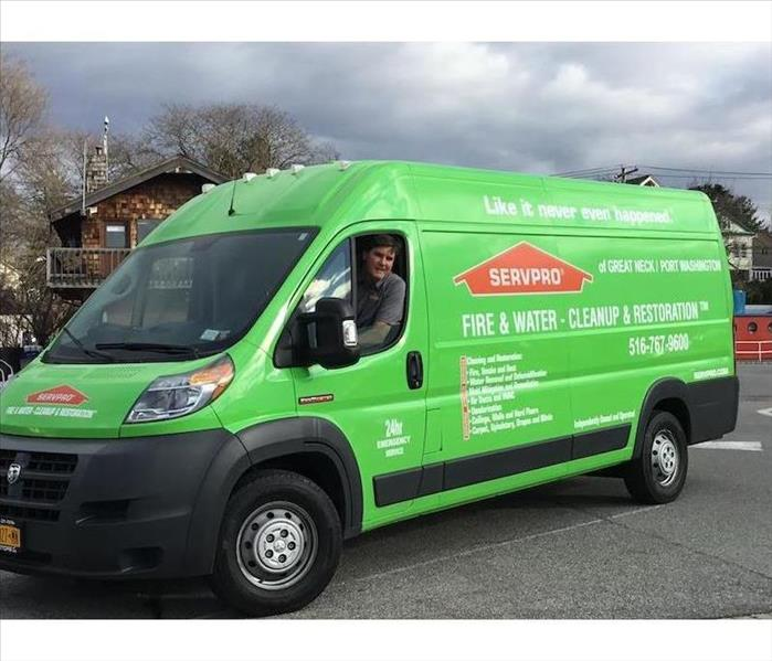 SERVPRO vehicle and driver