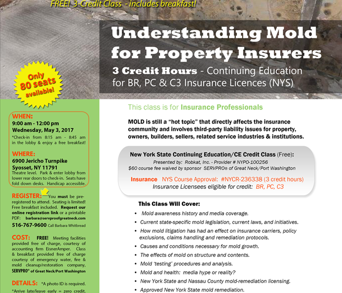 Mold Remediation SERVPRO of Great Neck/Port Washington to conduct 3-Credit Insurance Mold