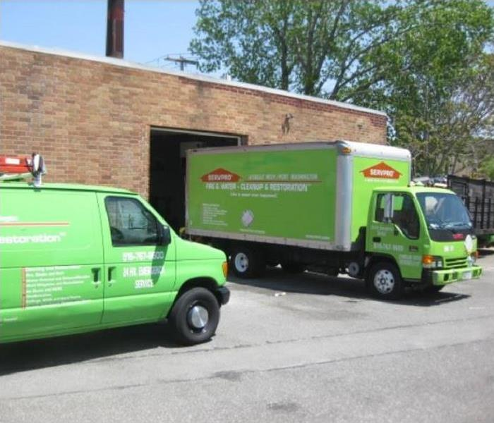 SERVPRO Vehicles outside of storage facility